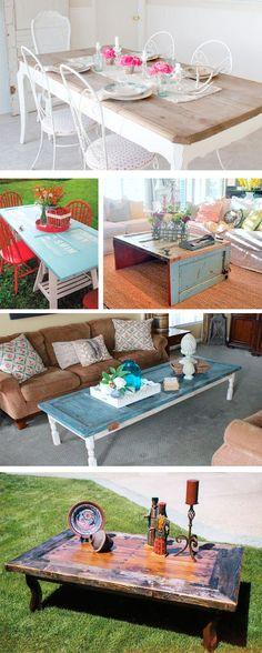 Muebles reciclados: puertas Diy Home Furniture, Homemade Furniture, Refurbished Furniture, Upcycled Furniture, Furniture Makeover, Painted Furniture, Deco Champetre, Door Table, Character Home