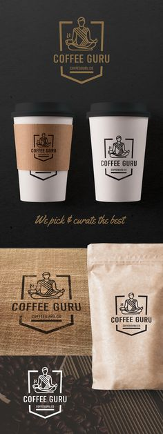 This is a startup coffee subscription website. Their target demographic is M/F 28-50 with disposable income, still hip, still wanting the physical experience of grinding beans, and brewing a UNIQUE cup or two of coffee…basically a grown-up hipster. Mockup, badge logo, gold & black, coffee cup design, coffee bag design, logo design, branding