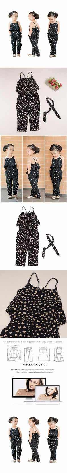 2016 Hot Fashion Toddlers Children Girls Love Heart Straps Jumpsuits by FEITONG