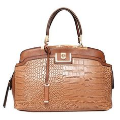 NEW ARRIVAL!  Margo Croc Satchel in Camel by Elise Hope $110 #newarrival #satchels #handbags #fall #musthave #croc