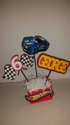 Hot Wheels Party by VannessasCreations Car Themed Parties, Cars Birthday Parties, 2nd Birthday, Birthday Ideas, Festa Hot Wheels, Hot Wheels Party, Hot Wheels Birthday, Race Car Party, Birthday Party Centerpieces