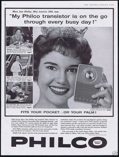 Mary Ann Mobley, Miss America 1959 -  Philco Transistor Radio Ad
