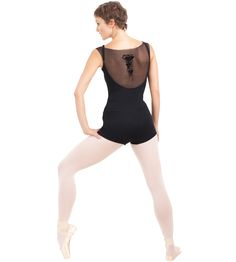 Leotard with mesh, microfiber, with the lining
