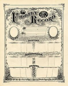 Vintage Free Graphics- Printable Family Record Certificate | Barbara Pagani's Tresor Cache 101