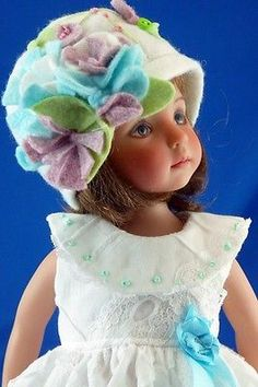 Fits-Effner-Little-Darling-Dewdrop-Wool-Felted-Bonnet-and-EMB-Frock-Gorgeous-C