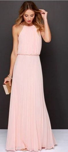 Pink sleeveless halter pleated maxi dress