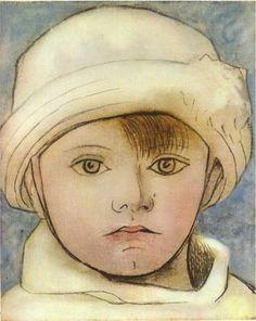 Aquarelle, portrait de Paulo ( 1923) fils de Pablo Picasso, peintre, sculpteur…