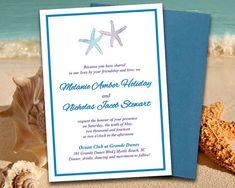 "Beach Wedding Invitation Template ""Lazy Starfish"" Invitation Regency Purple Royal Blue - DIY Wedding Template Printable Wedding Invitation by PaintTheDayDesigns"