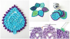 [Easy crochet pattern] Peacock Style Pineapple Coaster!