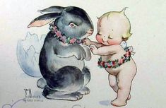 Vintage Kewpie Easter Postcard, via Flickr.