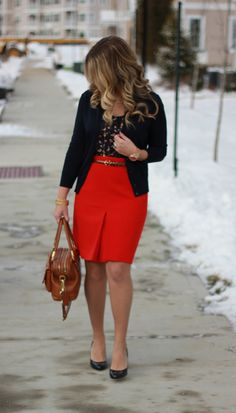 red skirt, navy cardigan, bird print top...the perfect office outfit!  This site has literally hundreds of work outfit ideas, click through to check it out!