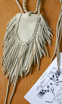 Native Art Deerskin Fringe Leather Medicine by JillClaireArt, $38.00