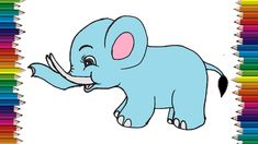 How to draw a baby elephant cute and easy. Cute cartoon elephant drawing step by step with this how-to video and step-by-step drawing instructions. Baby Cartoon, Cartoon Kids, Cute Cartoon, Easy Animal Drawings, Easy Drawings, Cartoon Elephant Drawing, Drawing Images For Kids, Disney Designs, Simple Cartoon