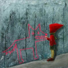 Little Red Riding Hood & drawing a Wolf on the wall art Little Red Ridding Hood, Red Riding Hood, Graffiti, Charles Perrault, Animes Yandere, Red Hood, Bad Wolf, Book Illustration, Amazing Art
