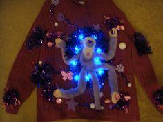 ugly christmas sweater purple monkey woman's 3x lights up deb's tacky winner by keriblue4 on Etsy