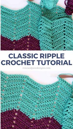 How to Crochet a Ripple Blanket - Rescued Paw Designs Use this tutorial to make a crochet ripple afghan, throw blanket or baby blanket. Free Ripple Crochet pattern by Rescued Paw Designs Crochet Ripple Afghan, Crochet Baby Blanket Free Pattern, Chevron Crochet, Easy Crochet Blanket, Afghan Crochet Patterns, Chevron Afghan, Crochet Quilt, Crochet Flower, Crochet Beanie