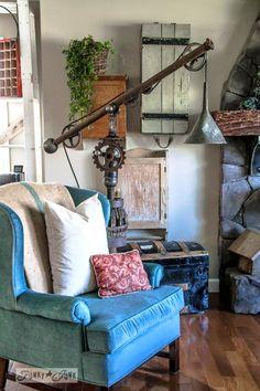 A Pottery Barn inspired oil funnel gear junk lamp, via http://www.funkyjunkinteriors.net/