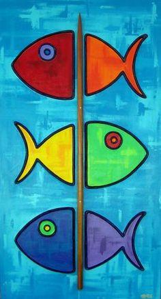"Painting : ""Fish-Kabob (with Koa skewer)"" (Original art by Shawn Ardoin) Fabric Painting, Painting & Drawing, Gouache Painting, Spray Painting, Fish Art, Fish Fish, Beach Art, Art Plastique, African Art"