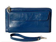A-SHU LARGE BLUE GENUINE LEATHER MULTI-COMPARTMENT PURSE / CLUTCH BAG WITH WRIST STRAP - A-SHU.CO.UK, £9.99