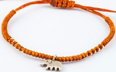 Fair Trade Thai Hill Tribe Silver Charm Waxed Cotton Bracelet Rust Elephant