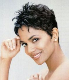 hair-love this on Halle Berry, but don't think I could pull off the REALLY short choppy bangs!