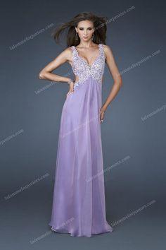 Long La Femme 18651 Open Back Top Sequin V-cut Lace Purple Prom Dress