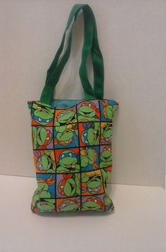 Ninja Turtle kids tote bag reversible to a by RebeccaEdwardsQuilts