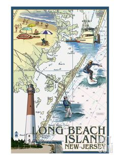 Long Beach Island, New Jersey - Nautical Chart - Lantern Press Artwork Giclee Gallery Print, Wall Decor Travel Poster), Multi 3 Canvas Art, Artist Canvas, Canvas Prints, Art Prints, Canvas Size, Long Beach Island, Island Map, Island Blue, Nautical Chart