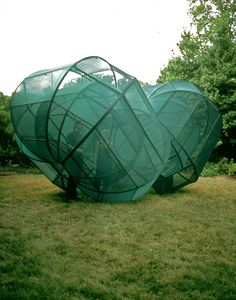 Outdoor installation by Kendall Buster; Green colored fabric stretched over steel frame; Outdoor Sculpture, Modern Sculpture, Temporary Architecture, Organic Structure, Fabric Structure, Public Art, Public Spaces, T Art, Land Art