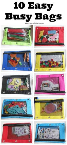 I love busy bags to provide a quick activity for the kids. These next 10 busy bags are super easy to make yourself and are great to just pull out at any time.