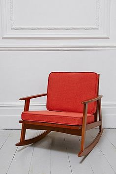Mid Century Rocking Chair in Orange - Urban Outfitters