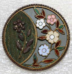antique enamel,metal cut steel button,British,ca.1880