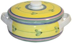 Caleca Carousel covered casserole dish by Caleca. $53.51. Includes one art; 311 covered casserole dish. Award-winning Carousel pattern, which in 1990 Caleca received the International Tabletop Award, a yellow pattern whose solarity and simplicity is liked by everyone and whose attractive, refined look is adaptable to any environment. All natural majolica/ceramic components individually hand-painted with non-toxic glazes and colors. Dishwasher safe; microwavable. Chip-r...