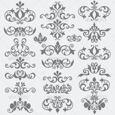 Vintage Design Elements by yakdesigner Tattoo Style, Letterhead Design, Stencil Art, Stencils, Rangoli Designs, Corner Designs, Sketch Design, Letter Art, Finger Tattoos
