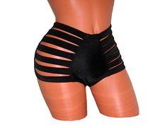 Sexy Strappy High-Waist Shorts Clubwear Pole Dancing Stripper Exotic Dancewear #FrancoisBonacci