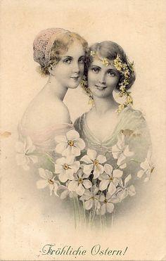 Vintage ladies with flowers postcard. ..♥..Nims..♥