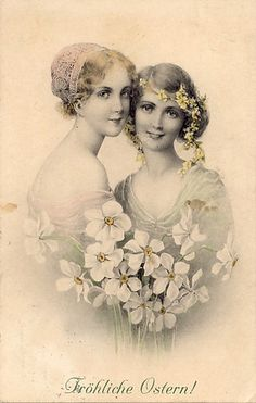 Vintage ladies with flowers postcard