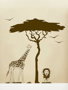 Animal Safari with Tree vinyl wall decal by paisleyinapeartree on Etsy, $65.00