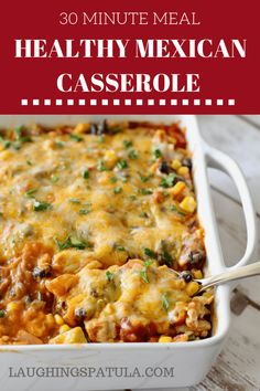A delicious combination of ground chicken or turkey, beans, corn and only 30 minutes from start to table! via Healthy Mexican Casserole - This 30 minute casserole is full of veggies, beans and lean ground chicken (or turkey)! Cheap Clean Eating, Clean Eating Snacks, Healthy Eating, Dinner Healthy, Healthy Mexican Casserole, Mexican Chicken Casserole, Mexican Lasagna, Ground Chicken Casserole, Healthy Chicken Casserole