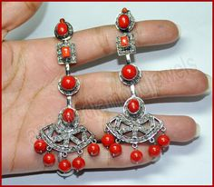 3.04ct ROSE CUT DIAMOND & RED CORAL VICTORIAN REPRODUCTION SILVER DANGLE/EARRING #BridalAntiqueJewels