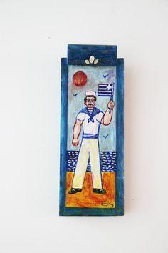 Greek sailor painting vintage folk art by ArktosCollectibles