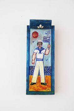 Greek sailor painting vintage folk art by ArktosCollectibles
