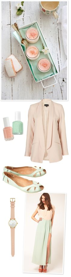 Random things I love today (in soft mint green and pale peachy pink)