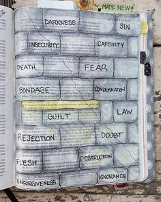 """This is a page I journaled last year on Memorial Day. It is Galatians 5:1 - """"For freedom Christ has set us free; stand firm therefore and do not submit again to a yoke of slavery."""" I wanted to show a prison wall built of stones made of fear insecurity rejection doubt unforgiveness and condemnation. The light shining in is the freedom that I have in Christ. I am so thankful that Jesus paid it all to break those walls down and that death has been conquered once and for all. by paperpraises"""