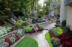 Really beautiful tiered back yard flowerbed