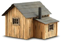 Zeke's Cabin - back right Ho Scale Train Layout, Model Train Layouts, Miniature Fairy Gardens, Miniature Houses, Diaroma Ideas, Wooden Clothespin Crafts, Modern Garage Doors, How To Build A Log Cabin, Le Far West