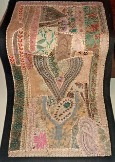 HANDMADE BOHEMIAN PATCHWORK RUNNER WALL HANGING EMBROIDERED VINTAGE TAPESTRY #Handmade