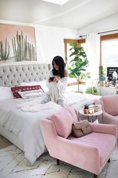 Blogger White Bedroom Inspiration | Boho Chic Blush Chairs | Cactus Art | Gypsy Tan | Tufted Bed