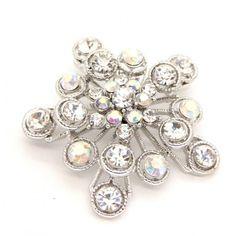 AB Crystal Filigree Snowflake Brooch