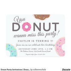 Donut Party Invitations   Donut Birthday Party